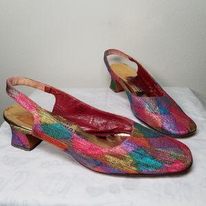 Vintage 50's Rainbow SquareToe Slingback Heels 7.5